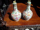 Pr Chinese Mandarin Rose Bottle Vases ca 1840
