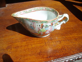 Chinese Rose Medallion Sauce Boat Porcelain 1860s