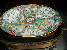 "Lge Rose Medallion Chinese 16 ""  Platter Footed 1860"
