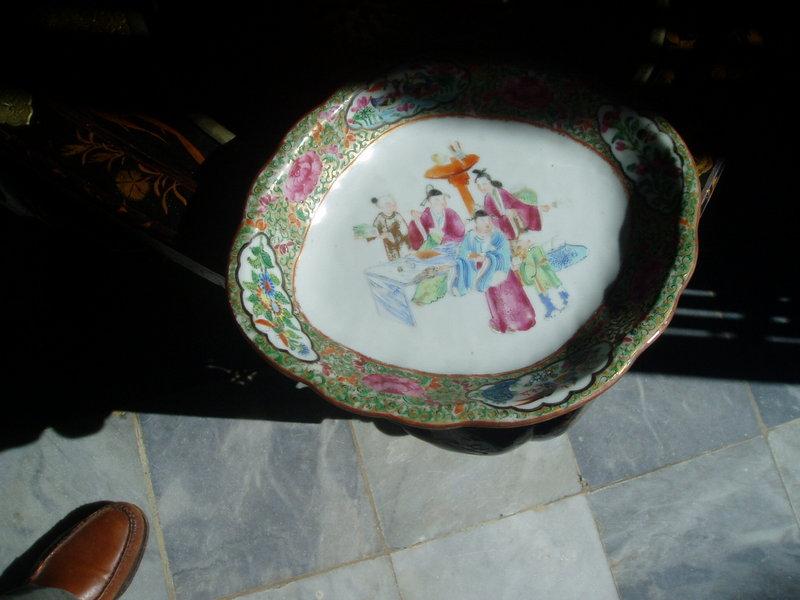 Rose Medallion Relish Plate Porcelain Chinese 1860