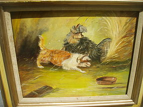 19thc English Rat Terrier Painting Sgnd Lstd Records
