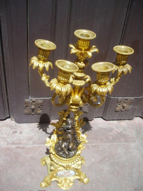 French Ormolu Bronze Putti Candelabra  ca1820