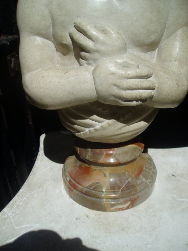 Carved Marble Infant Bust