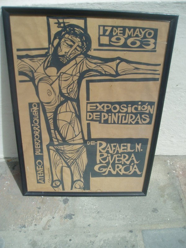 Puerto Rican lithography poster 1963 signed.