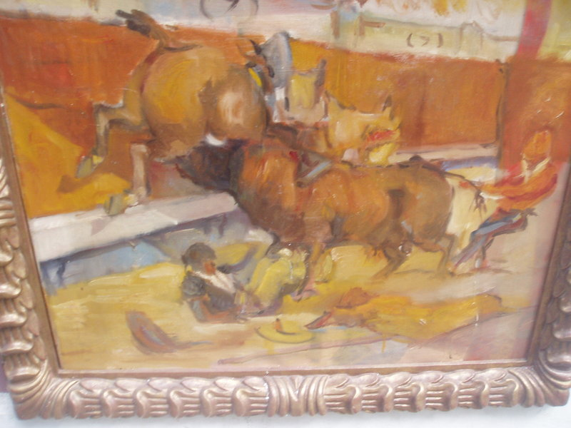 Spanish Bullfight Painting ca 1930s