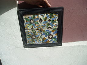 Four 16thc Spanish Tiles Framed