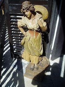 Austrian Goldscheider Large Female Sculpture ca 1900