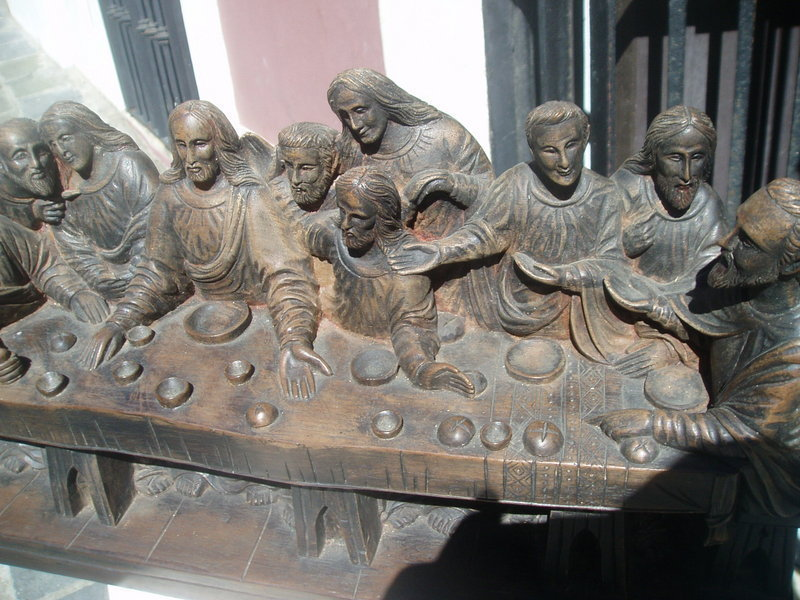 19thc French  Colonial Wood Carving Last Supper