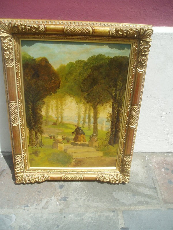 19thc Irish Oil Painting--Damsel In Garden 1860s