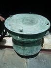 Lge 27 In Dia Bronze Shan Rain Drum Antique