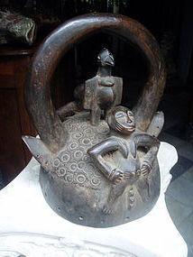 African Antique Senufo Carved Helmet Mask