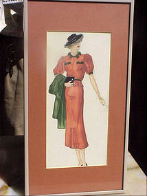 American Fashion Ink Drawing-Lady in Red-30s