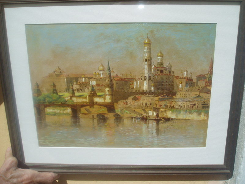 19thc Russian Chromo lithography Kremlin