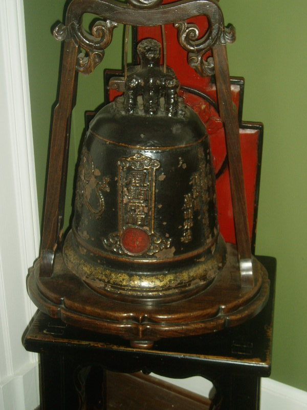 Lge antique Chinese Iron Temple  Bell Mounted