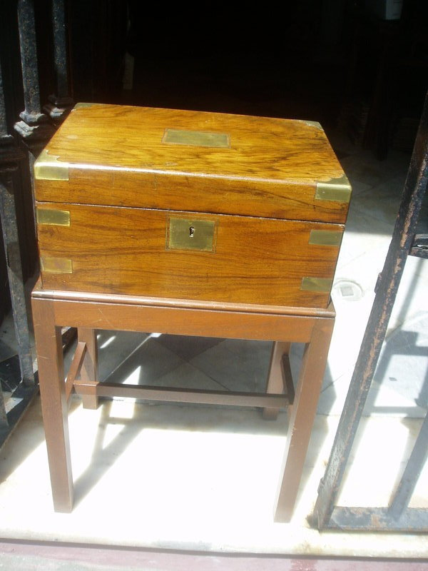 19thc English Burl Walnut & Brass Lap Desk on Stand