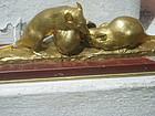 French 19thc Gilt Bronze-Two Mice & Snail G. Gardet