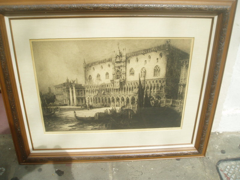 Lge Early 20thc Etching Venice Sgnd Listd Artist
