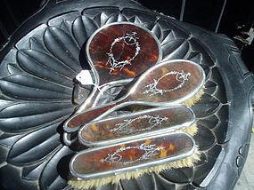 4  Piece Vanity Set Silver & Tortoise Shell 1920s