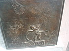 Bronze Bas Relief Italian Plaque Puttis Signed 20thc