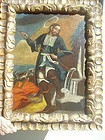 17thc Spanish Colonel Oil Painting St Jacinto Cuzco