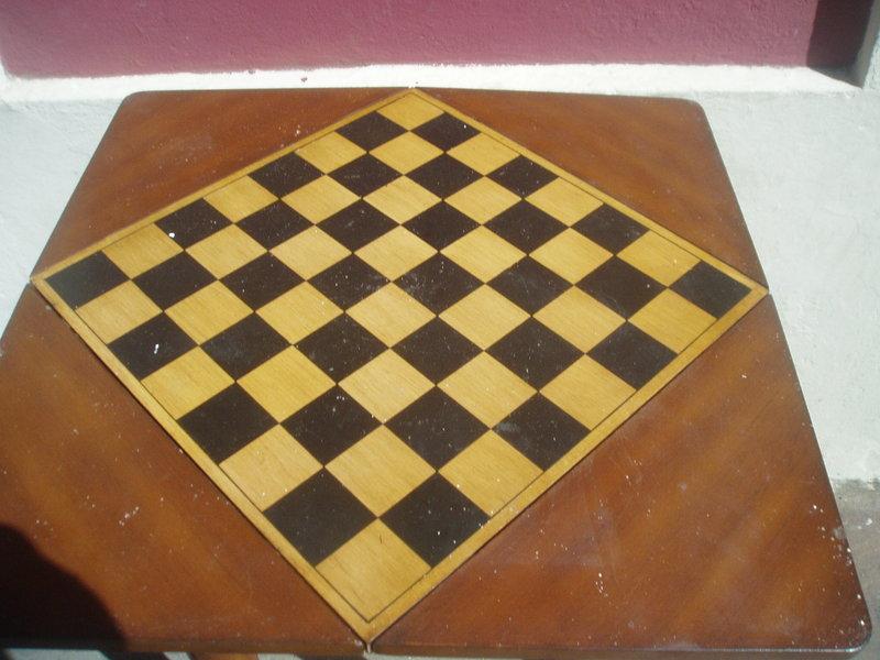 Puerto Rican Mahogany Chess Handkerchief Table