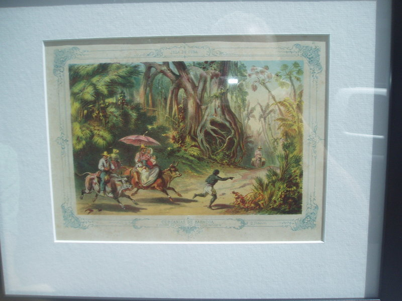 19thc Cuban Colored Lithography ca 1860s-Jungle Romp