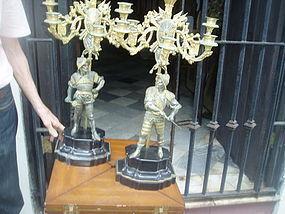 Pr French 19thc Bronze Ormolu Figure Candelabra