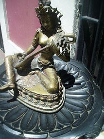 East Indian Bronze Goddess  Sarawan 12.5 inches 19thc