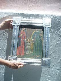 Spanish Colonial Retablo 19thc Holy Family