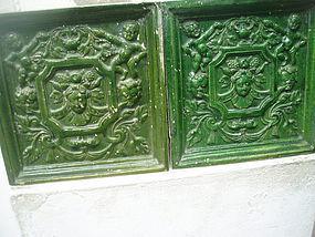Pr Lge Flemish Green 17thc Baroque Stove Tiles