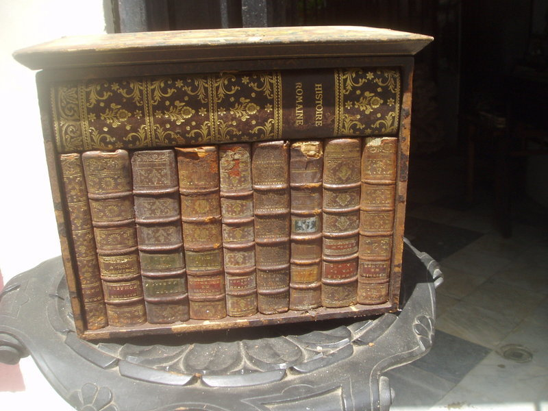 Antique Letter Box Disguised as Leather Bound Books