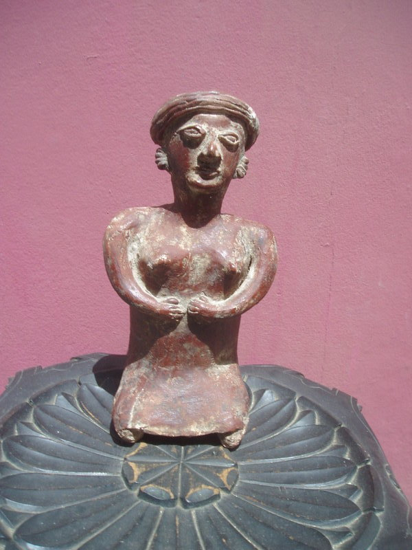 Lge Pre Colombian Female Nayarit  Figure Terra Cotta
