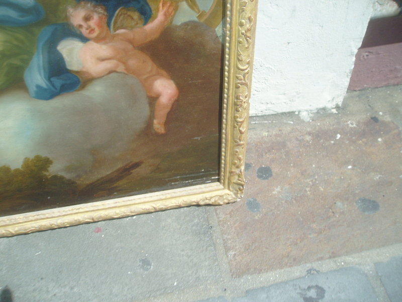 French Old Master Painting on Wood Panel 18thc