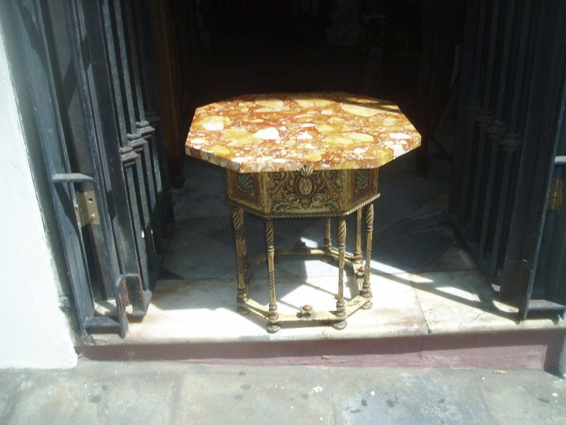 Quality Spanish Revival Painted Iron Marble Top Table