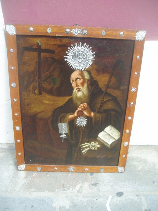 Early 18thc Spanish Painting with Silver Embellishments