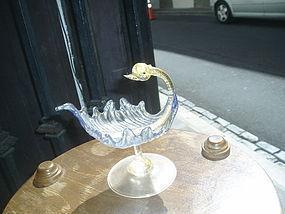 Italian Venetian Murano Glass  Dish Swan Motif
