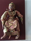 Early Carved Wood Monkey Puppet from Thailand Mounted