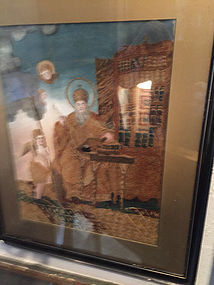 19thc Textile & Oil Painting of Orthodox Bishop in Library