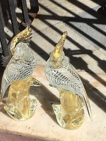 Rare Pr Venetian Murano Cockadoos Gold Fleck