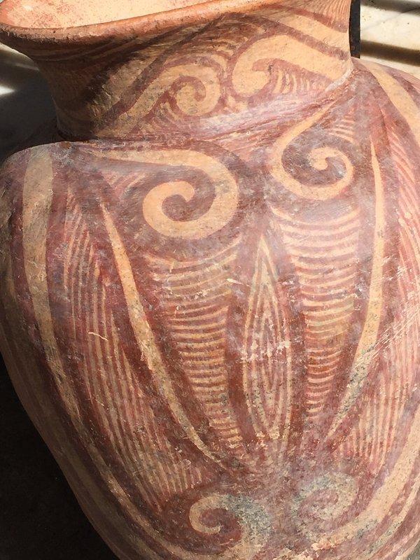 Lge  Artifact Thai Ancient Painted Pottery Pot Ban Chiang