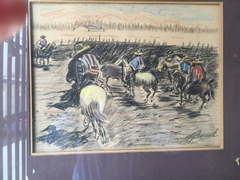 Mexican Signed Listed Charcoal & Gouache Drawing 1970s