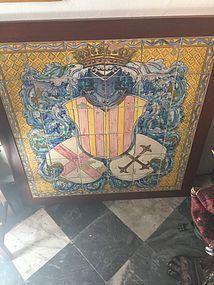 Large 18thc Spanish Tile Family Crest