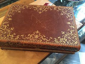 19thc Leather Document Box Disguised as Two Leather Books