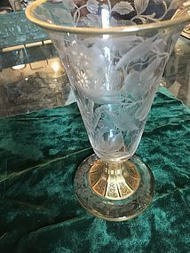 Exquisite Moser Etched Crystal Vase With Gilt Embellishments