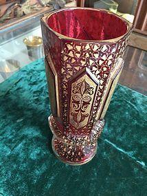 Magnificent Ruby Cut Glass & Gilt Moser Vase Ca 1900