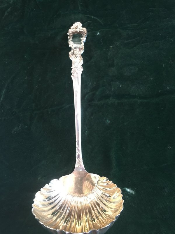 Elaborate French Sterling Silver Large Ladle Marked