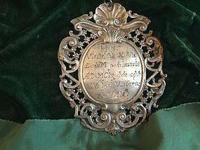 17thc Baroque 800 Silver Medallion Marked European