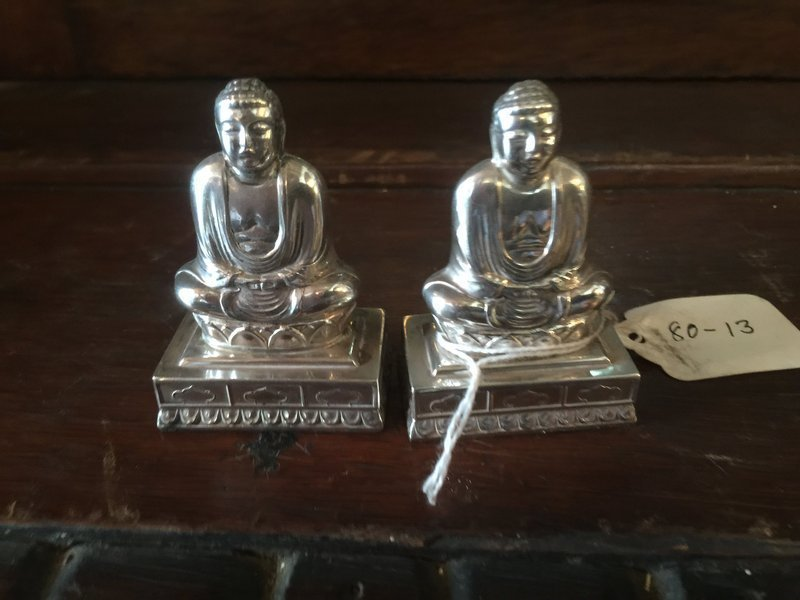 Pr of Chinese Buddha  Sterling Silver Salt & Pepper Shakers Marked