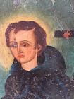Rare 19thc Mexican Retablo of St Benedict  on Tin