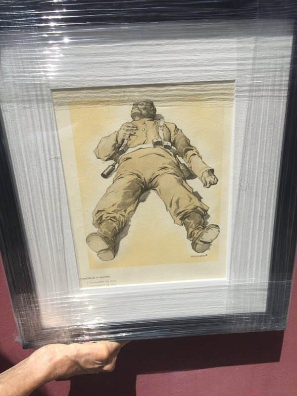 Spanish Civil War  Lithography Unlucky Soldier Signed
